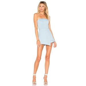 by the way. Avery Strapless Envelope Romper Blue